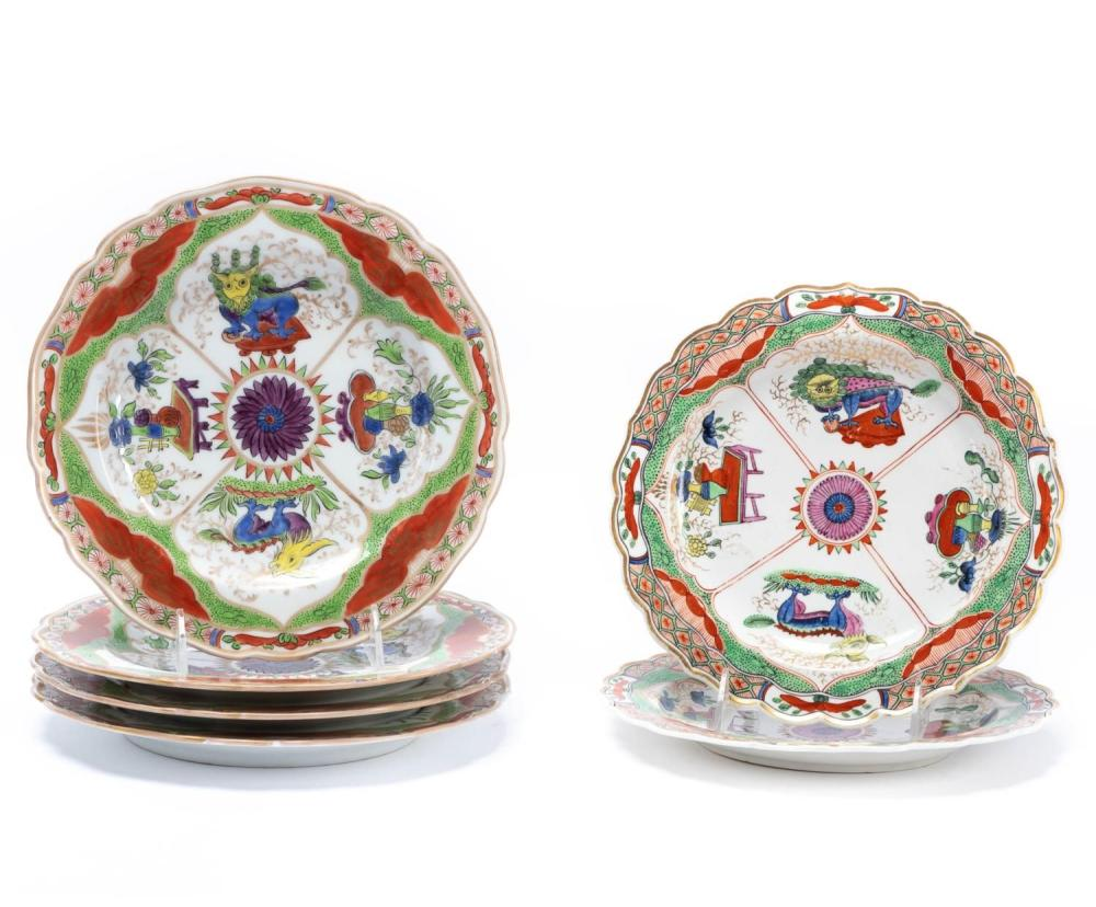 """SIX WORCESTER """"DRAGON IN COMPARTMENTS"""" PLATES"""