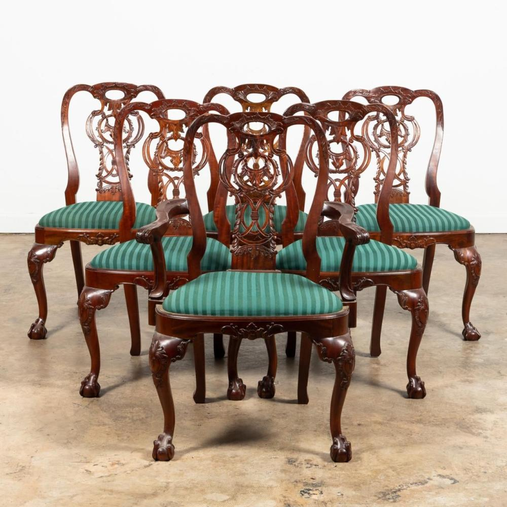 SET SIX, CHIPPENDALE-STYLE MAHOGANY DINING CHAIRS