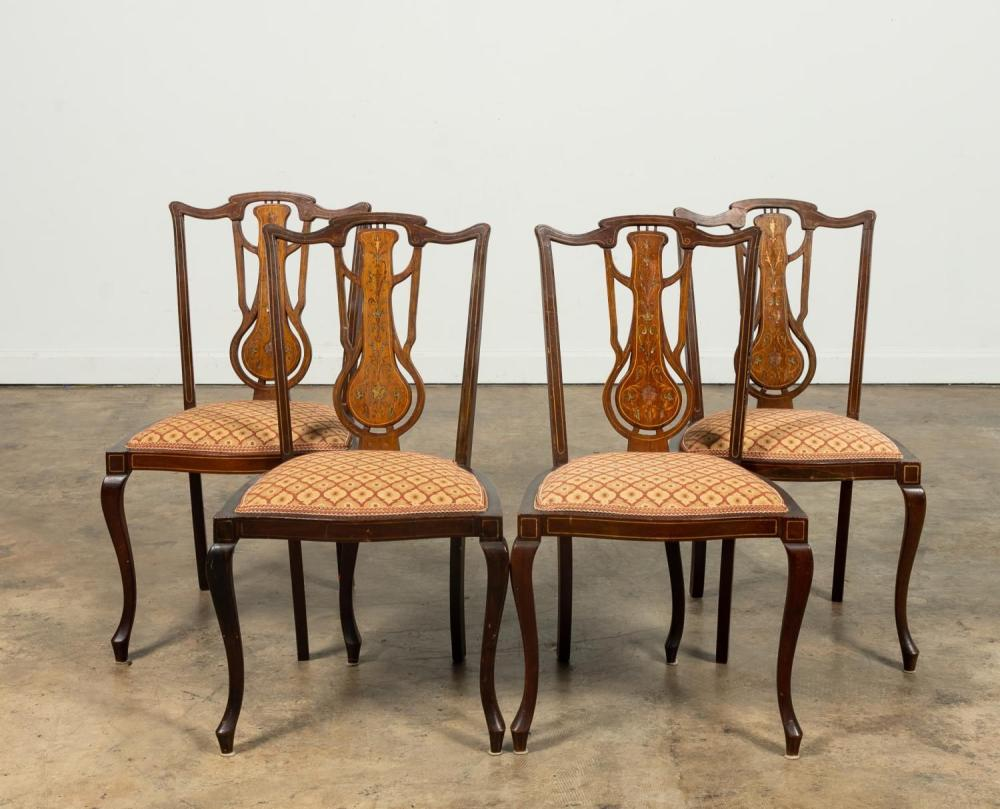 E. 20TH SET OF FOUR EDWARDIAN INLAID SIDE CHAIRS