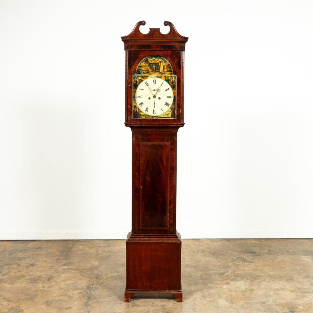 19TH C. SCOTTISH AGRARIAN MAHOGANY TALL CASE CLOCK