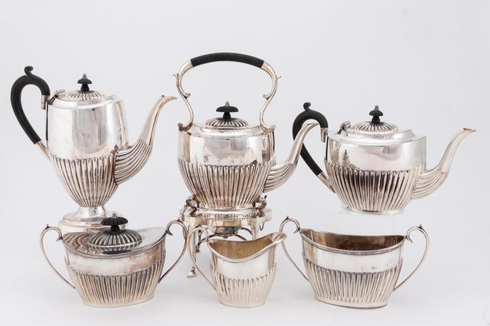 SHEFFIELD SILVERPLATE TEA & COFFEE SERVICE, 6PC