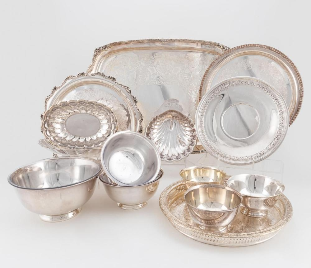 14PCS, SILVERPLATE HOLLOWARE: TRAYS, BOWLS, DISHES