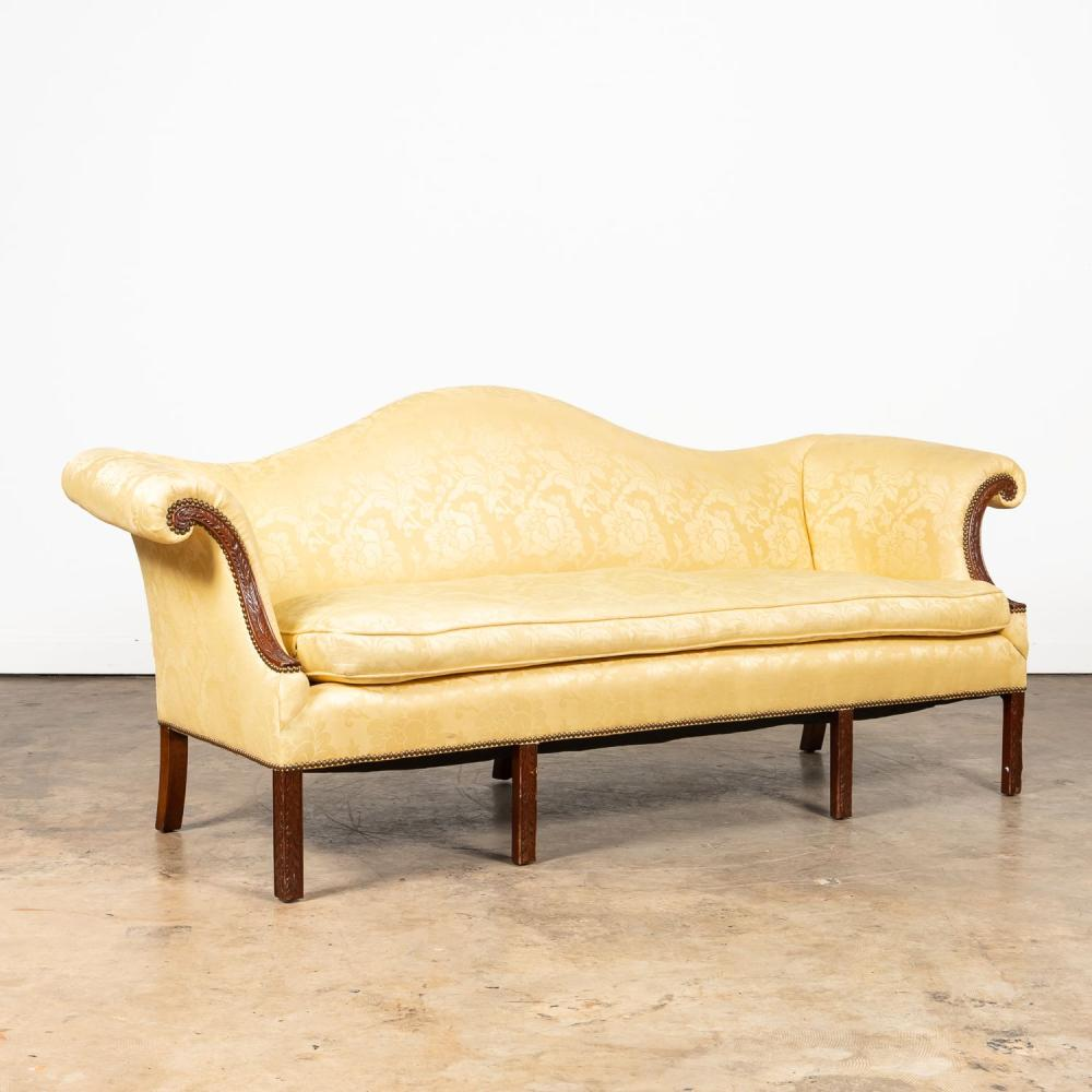 YELLOW DAMASK UPHOLSTERED CHIPPENDALE-STYLE SOFA