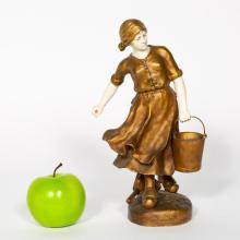 J.E. Masson Bronze & Bone Figural Sculpture