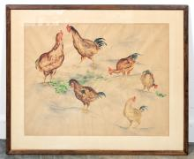 Isabel L. Whitney, Watercolor, Roosters