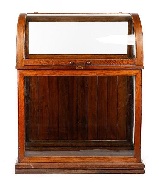 Oscar Onken Co Oak Cane Display Cabinet