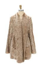 Cardigan Style Cream & Brown Rabbit Fur Coat