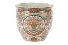 Palatial Porcelain Lotus Flower Motif Fishbowl