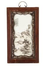 Framed Chinese Porcelain Winter Scene Plaque
