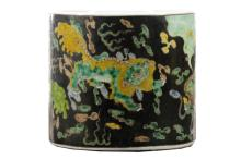 Chinese Famille Noir Round Porcelain Brush Pot