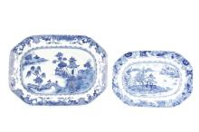 Two Chinese Export Blue & White Porcelain Platter