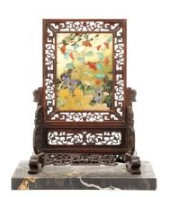 Chinese Carved Jade and Hardstone Table Screen
