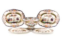 Group of 5 Pieces Mason's Ironstone, 19th C.