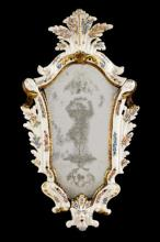 Porcelain and Etched Glass Mirror, Dresden Style