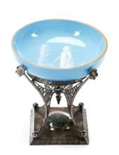 James Tufts Silver & Blue Glass Center Bowl