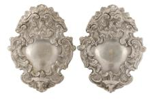 Pair of French Rococo Style Pewter Wall Sconces