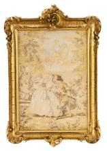 French Petit Point Embroidery, Courtship Scene