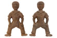 Pair of 19th Century Cast Iron Figural Andirons