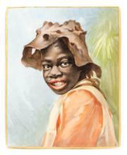 Scarce Limoges Porcelain Plaque, Afr. American Boy