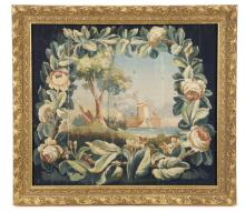 19th Century French Tapestry Cartoon with Roses