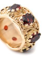 Ladies Scalloped 14k Yellow Gold & Garnet Ring