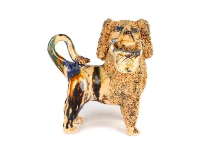 Signed Bill Ray Hussey Ceramic Poodle with Basket