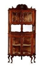 American Rococo Revival Mahogany Corner Cabinet