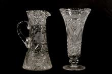 2 Large Pieces American Cut Glass, Vase & Pitcher