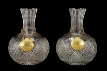 2 Cut Glass Decanters with Gilt Shell Labels