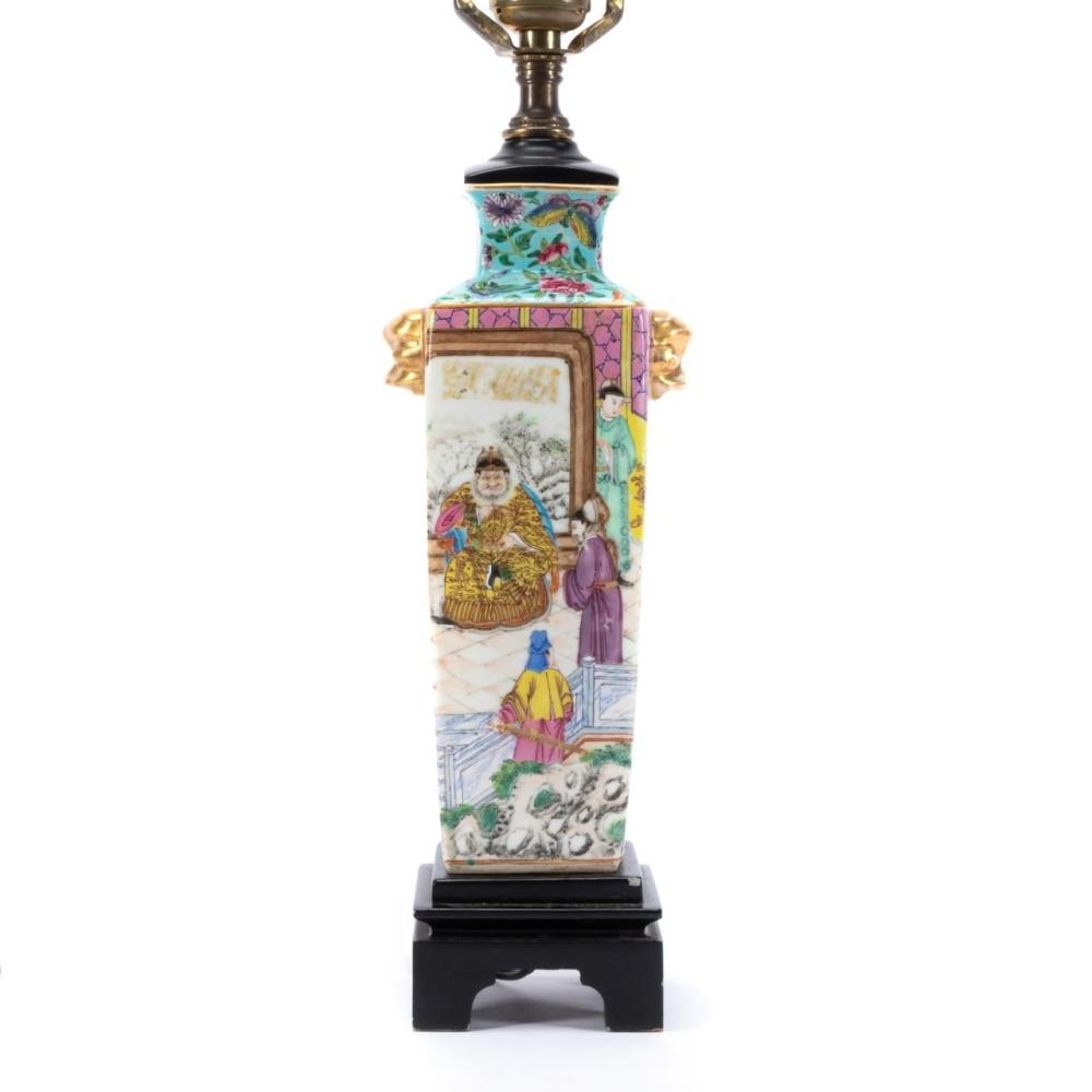 SMALL CHINESE PORCELAIN VASE AS LAMP, COURT SCENE