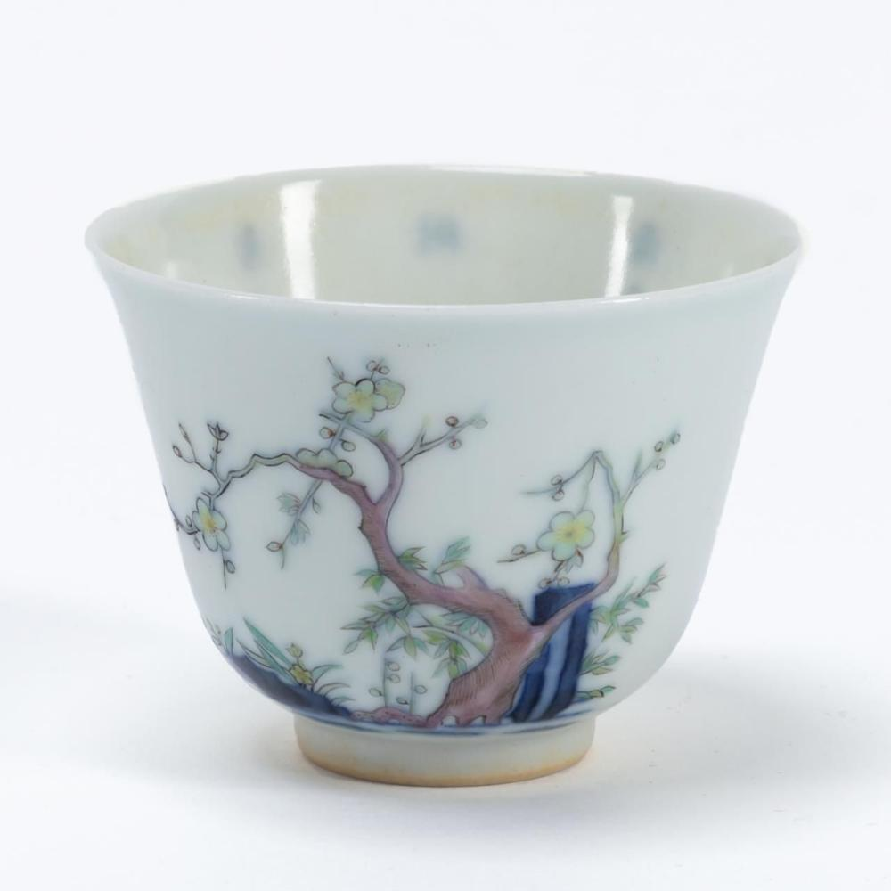 SMALL CHINESE PORCELAIN CUP WITH BLOSSOMING TREE