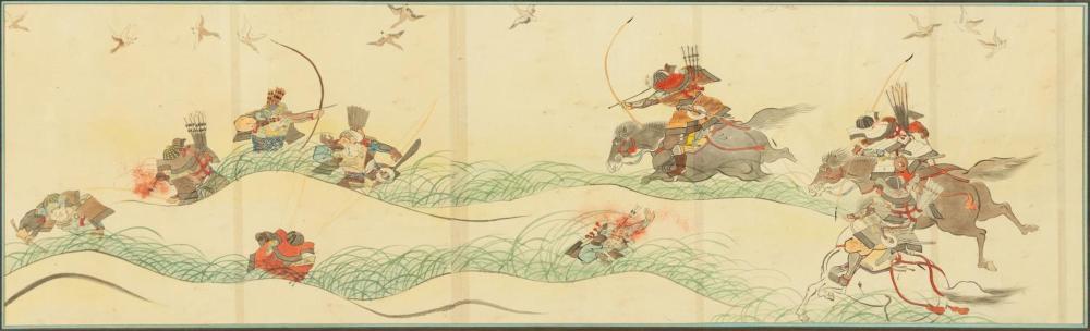 2 LARGE JAPANESE FIGURAL WARRIOR WATERCOLOR SCENES