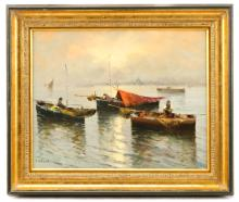 Mid-Century Continental School Seascape, Signed