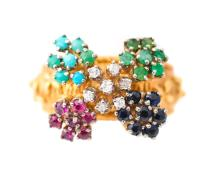 Ladies 18k Yellow Gold & Multi-Stone Floral Ring