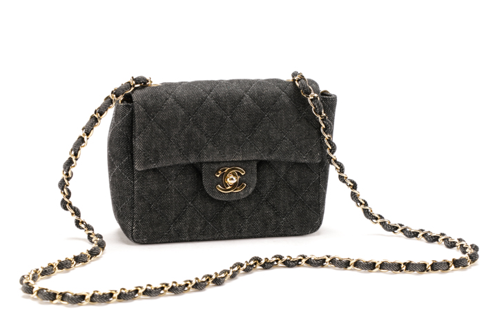 376d31a18717 Chanel Quilted Denim Mini Classic Square Flap Bag