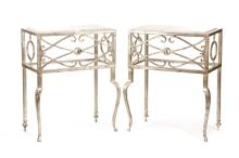 Pair Hollywood Regency Silver Leaf Console Tables