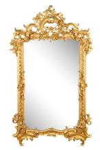 Palatial Rococo Giltwood Carved Mirror