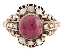 English Georgian Rose Gold, Ruby & Diamond RIng