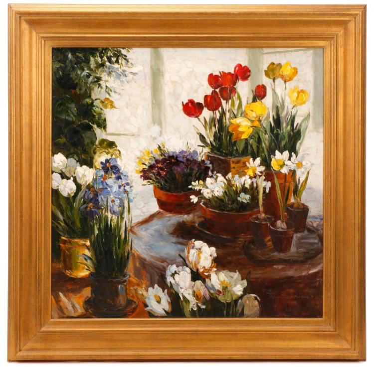 Jamie Lisa, Still Life With Tulips And Irises, Oil
