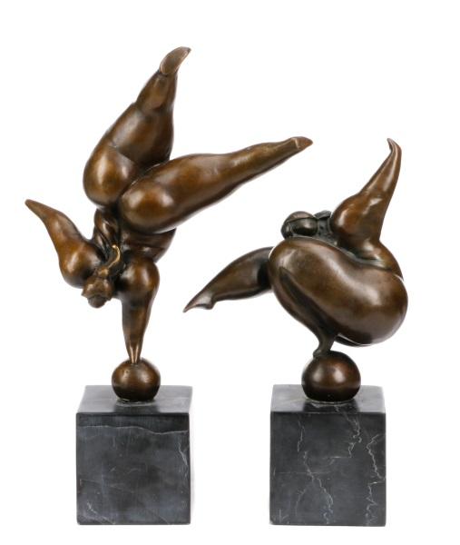 `Max Milo Signed Bronze Sculptures, Les Acrobates
