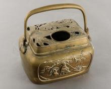 Chinese Handled & Lidded Brass Censer