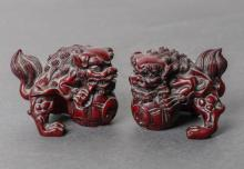 Pair, Small Japanese Red Carved Shi Shi Amulets