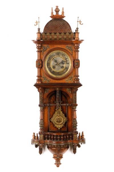 German architectural carved oak wall clock