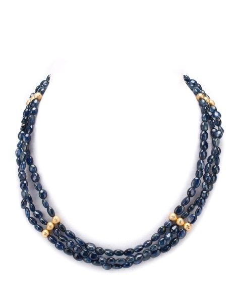 14k Gold & Sapphire Beaded Three Strand Necklace