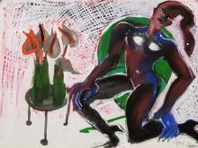 Elvira Bach, 3 Mixed Media Works on Paper