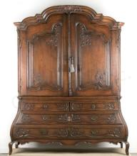 18th C Dutch Two-Piece Bombe Cabinet