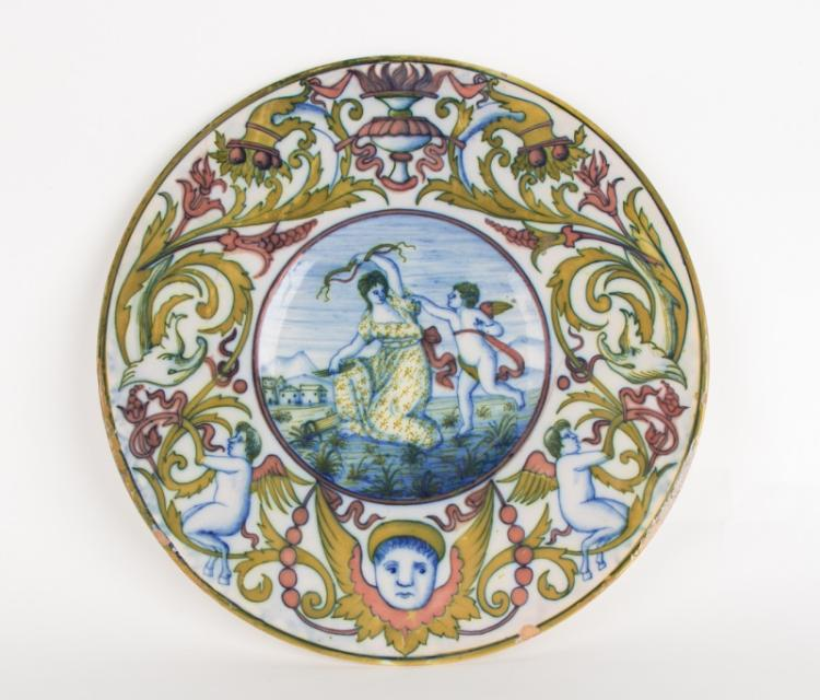 18th C. Majolica Charger, Cupid & Psyche