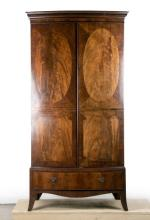 Federal Style Inlaid Linen Press, Early 19th C.