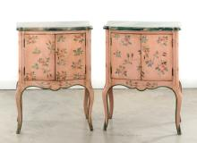 Pair of Hand Painted Bedside Cabinets by Patina