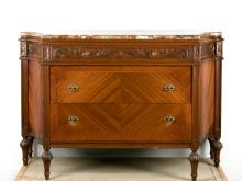 Continental Style Marble Top Mahogany Dresser